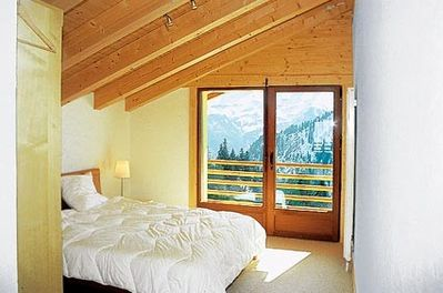 Main bedroom, with ensuite and Dents Du Midi view