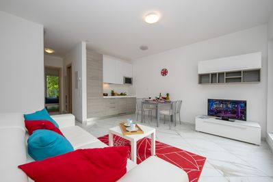 Living room with a comfortable sleeping sofa, dining set and television