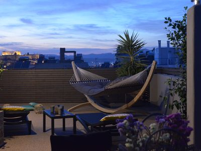 Photo for Penthouse with Private Rooftop with Acropolis view & sauna. Walk everywhere