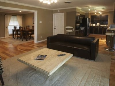 Beautiful hickory hardwood floors, open living area