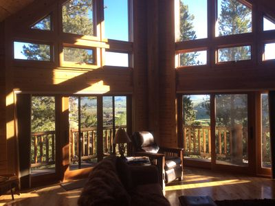 Photo for Secluded Log House  & Amazing Views, Hot Tub, Close to Slopes