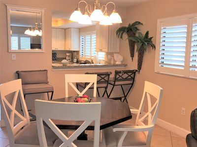 Comfortable dining open to the kitchen and living area