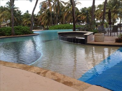 One of the two private pools for ocean villa guests