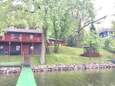 Lake side view of front of the cabin. You can also see the cottage on right.