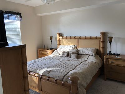 Master bedroom, king size bed, master bath, double walk-in closets, sunset view