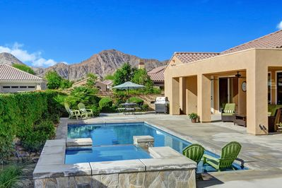 Private backyard with great mountain and sunset views