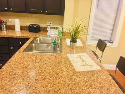 Open concept plan, kitchen counter top