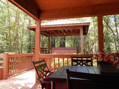Enjoy total privacy in oversized 6 person hot tub and  gazebo