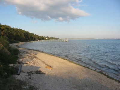 Looking east on our private beach on  Shinnecock Bay, steps from the cottage