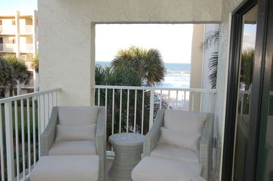 We have a great ocean view from our large porch with comfortable seating for 4!