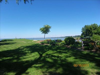 Long peninsula with picnic area next to private beach over lake st clair