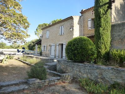 Photo for Mas in stone in the Luberon between vineyards, olive and lavender with swimming pool