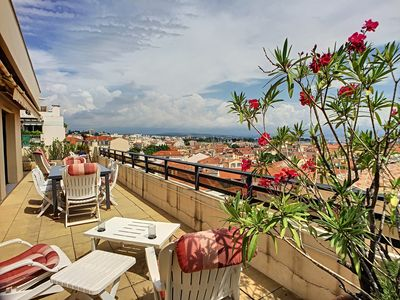 Photo for Penthouse terrace with panoramic sea view