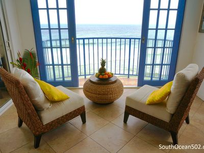Photo for Luxurious beachfront apartment with pool, AC,  breathtaking views, South Coast