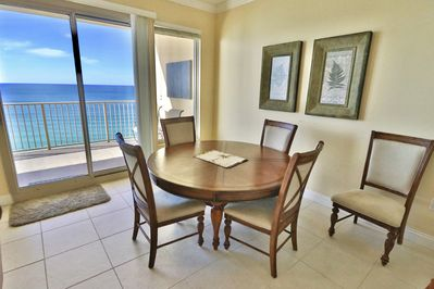 Dining table with a view! And access to the private balcony.