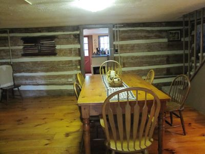 Large dining table in main part of cabin
