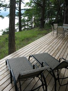 Relax and enjoy views of Tribune Bay from our Hornby Island home.