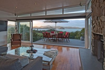 Main house lounge with sea views