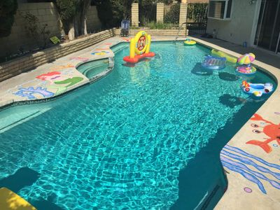 Huge pool with sea world hand painting, pool heating is available