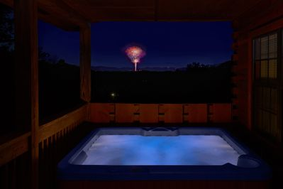 See Dollywood Fireworks from the upper Deck and Private Hot Tub