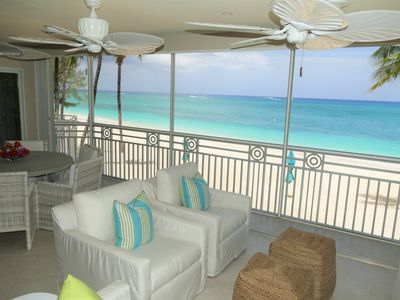 Photo for Gorgeous 4 Bedroom Oceanfront Condo on Seven Mile Beach