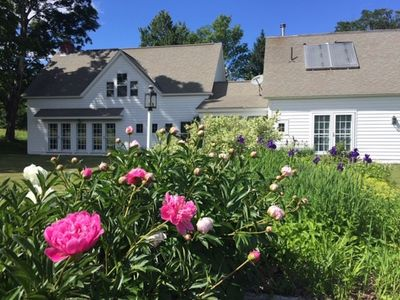 Spring peonies - Entire house (schoolhouse in front)