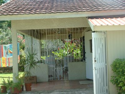 Main entrance with view of covered patio