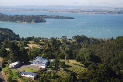 Aerial shot of Kauri Villas with Kohinui Holiday Cottage  in foreground