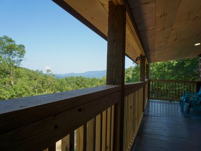 Photo for Beautiful cabin with long-range mountain view also offering luxury hot tub.