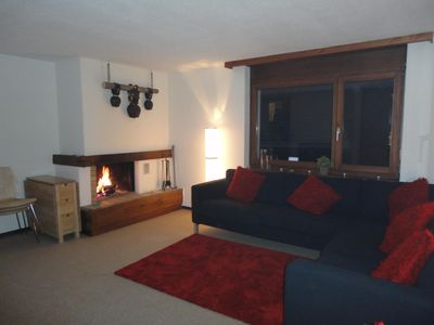Living area and fire place