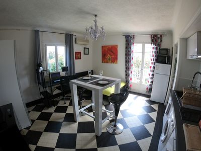 Photo for Bright studio 5min from beaches - Parking - Terrace BBQ - Air conditioning