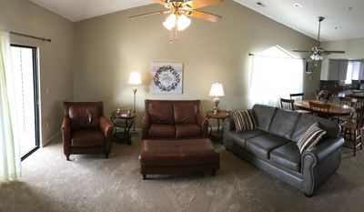 Large Living Room Open To Kitchen WIth HDTV and Sleeper Sofa