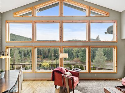 Photo for Spacious Riverfront Lodge with 180 River & Mountain Views Perfect for Gatherings