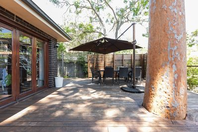 Outside Decking with an outdoor dining table