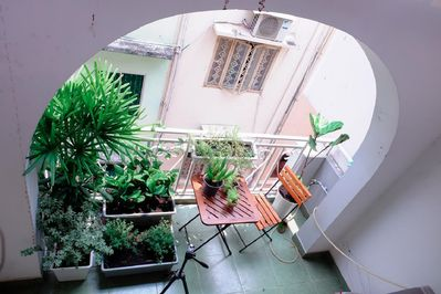 Huge and Green Balcony. Perfect for you to enjoy tea in the morning.
