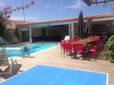 Photo for Villa of character of 200 sq.m, close to sea, shops, heated pool & private spa