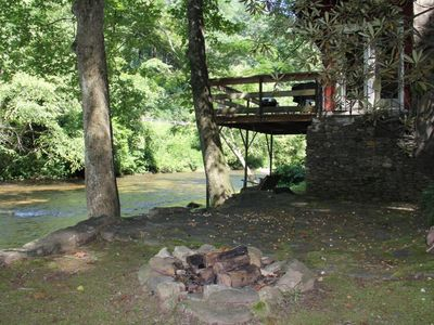 Photo for Guests will truly enjoy River Haus:  a rustic one bedroom, one bath cabin, while listening to the so