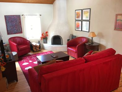 This is a joyful house with a poppies theme. The red furniture is very welcoming