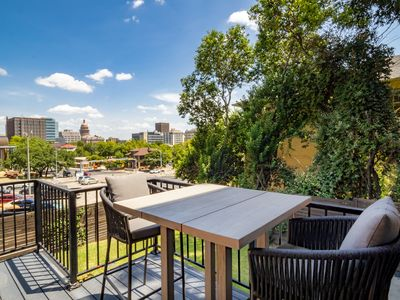 Balcony with seating for two and views Downtown Austin
