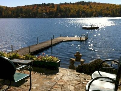 Photo for Lakefront house with dock, sandy beach, full kitchen, gorgeous views