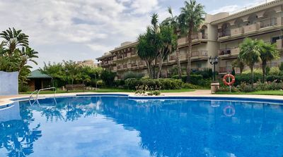 Photo for 3 bedroom apartment with garden, pool and paddle. 100m from the beach.