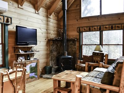 Photo for 2 for 1 Cabin, 2 Living, 2 Kithcens, Paved roads, Creek, Cozy, Private, Pets OK
