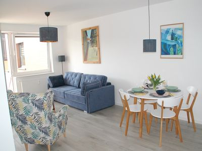 Photo for A modern, new apartment with garage in the spa district of Kołobrzeg, 300 m to the sea