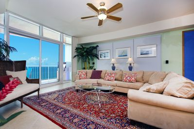 Great Room with views to the Gulf, Ralph Lauren pillows, and traditional sofa