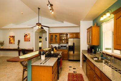 Kitchen has everything you could need, open layout