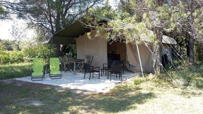Photo for The safari tent has a kitchen, bathroom and is private on a field of 2500m2.