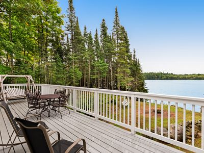 Photo for Beautiful home on High Lake w/private pier, large deck & canoes