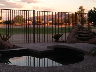 Heated salt water spa & pool with view of SanTan Mountain