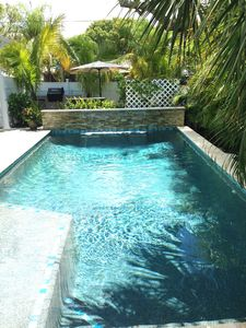 Private Tropical Pool - Waterfall, Sun Shelf, Lagoon-style, w/cozy corner spa