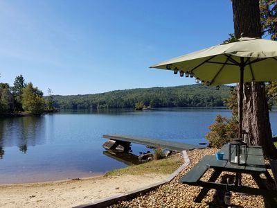 Photo for Cozy Cottage with Beautiful Private Beach on Webster Lake